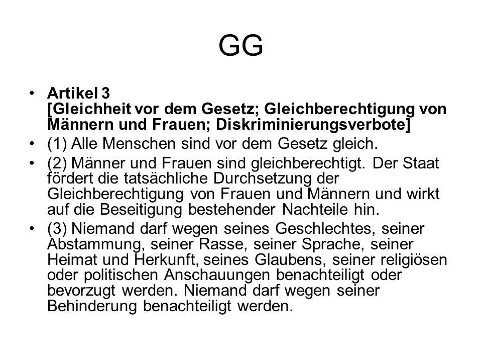 GG Artikel 3 [Gleichheit vor dem Gesetz; Gleichberechtigung von Männern und Frauen; Diskriminierungsverbote]